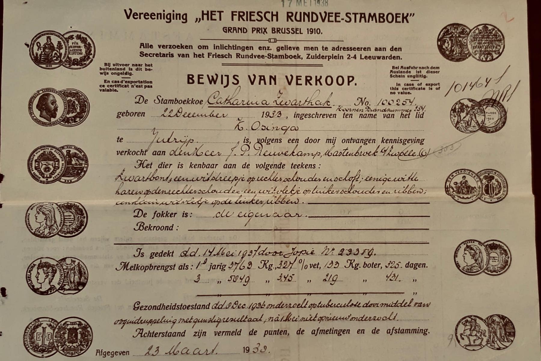 Jans koopt stamboekkoe  Catharina Zwarthak van K. Osinga uit Jutrijp (1938).